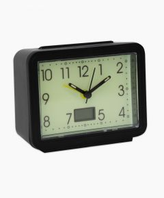 Black Framed Clock With A Glow In The Dark Face, Large Numbers And A Small Rectangle At The Bottom For The Temperature To Be Displayed.