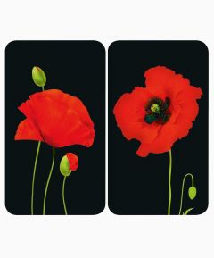 Glass Hob Cover Plates - Poppies